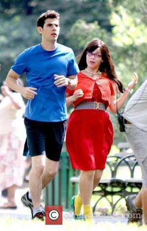 Daniel Eric Gold and America Ferrera  filming a scene for their television show 'Ugly Betty' in Manhattan New York...