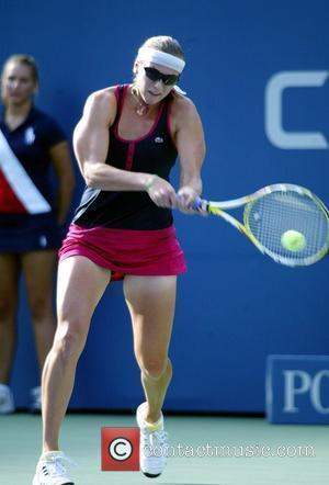 Yaroslava Shvedova of Kazakhstan in action against Jelana Jankovic of Serbia during day four of the 2009 U.S. Open at...