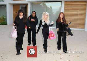 X Factor finalists Azi Jegbefume, Chemmane Applewhaite, Coco Lloyd and Khatereh Dovani from Kandy Rain leaving the X factor house...