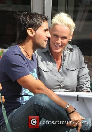 Brigitte Nielsen and her husband Mattia Dessi  enjoy a romantic lunch together after spending the morning shopping London, England...