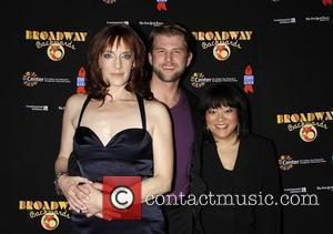 Julia Murney, Ward Billeisen, and Ann Harada Post show photo call for 'Broadway Backwards 5' to benefit Broadway Cares/Equity Fights...