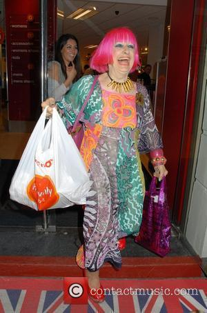 Zandra Rhodes  leaving a VIP preview evening at the new flagship TK Maxx store on Charing Cross Road. It...