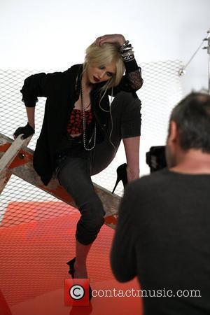 Taylor Momsen  on set at the shoot for the new 'Material Girl' range. Momsen is the face of the...