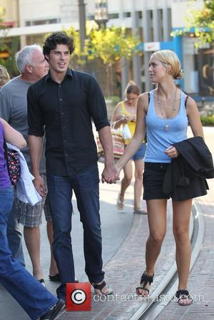 Adam Gregory and Sheridan Sperry '90210' actor Adam Gregory shopping at The Grove with his girlfriend Los Angeles, California -...