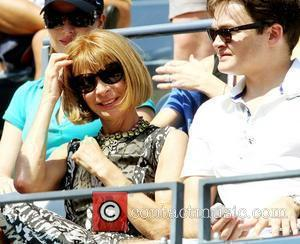 Anna Wintour is seen watching Roger Federer ( SUI) compete against Andreas Beck (GER) during the men's singles match on...