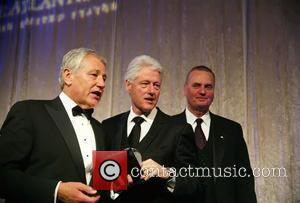 Senator Chuck Hagel and Bill Clinton