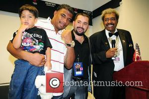 WBC Heavyweight champion Odlanier La Sombra Solis, Ahmet Oener and Don King attend press conference after defeating Ray The Rainman...