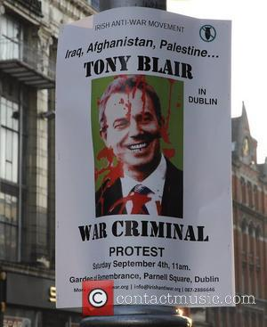 Protesters - Poster The Shelbourne Hotel was on a security lockdown as former British Prime Minister Tony Blair is in...