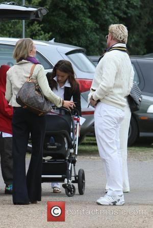 Boris Becker with his wife Lily Kerssenberg and their son Amadeus at the Laureus Polo Cup Event at Ham Polo...