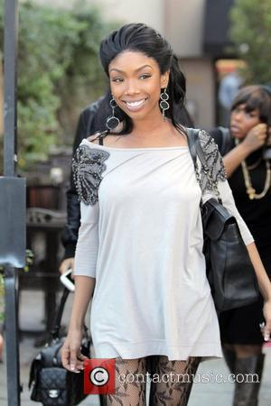 Brandy  has lunch with friends at Cuvee Wine & Food on Robertson Boulevard while filming a segment for her...