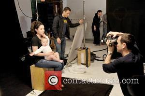 Bristol Palin and her son, Tripp Easton Mitchell Johnston behind the scenes on the set for the new PSA campaign...