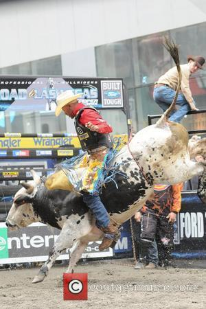 Valderon De Oliveria The Professional Bull Riders 'Built Ford Tough Road To Las Vegas' competition in Times Square New York...