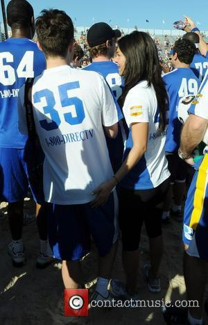 Actors Ed Westwick and Jessica Szohr of the tv show 'Gossip Girls' at the Fourth Annual DIRECTV Celebrity Beach Bowl...