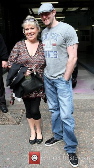 Tina Malone and her fiance Paul Chase outside the ITV studios  London, England - 06.09.10