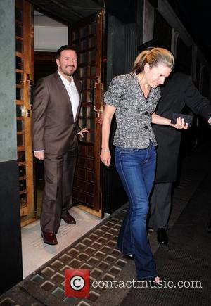 Ricky Gervais and Jane Fallon leave The Ivy restaurant in London's West End London, England - 16.09.10