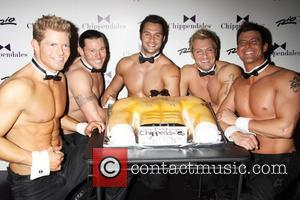Chloe Lattanzi and The Men Of Chippendales attends the Chippendales 3000th Show at the Chippendales Theater in the Rio Hotel...
