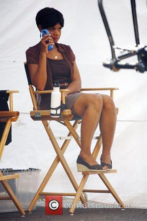 Kimberly Elise on the set of 'For Colored Girls Who Have Considered Suicide When the Rainbow Is Enuf' filming on...
