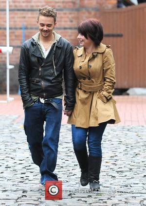 Jack P. Shepherd and his girlfriend Lauren Shippey at Granada studios to film an episode of Coronation Street. Manchester, England...