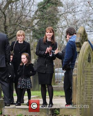 Jane Danson and Kate Ford The cast of 'Coronation Street' filming the funeral of Blanche Hunt on location Manchester, England...