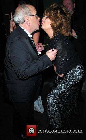 Rula Lenska kisses Malcolm Hebden 'Coronation Street' 50th Anniversary Ball held at the Machester Hilton hotel Manchester, England - 10.12.10