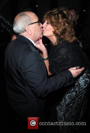 Rula Lenska kisses Malcolm Hebden 'Coronation Street' 50th Anniversary Ball held at the Machester Hilton hotel Manchester, England - 10.12.10