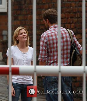 Jane Danson with a male companion 'Coronation Street' stars arriving at the Granada Television studios. Manchester, England - 09.08.10