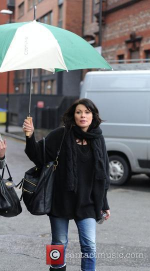 Alison King 'Coronation Street' stars arrive at the Granada Studios on a rainy day in Manchester. Manchester, England - 12.01.11