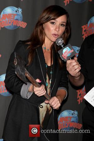 Danielle Harris promotes her new film 'Hatchet II' with a memorabilia donation at Planet Hollywood  New York City, USA...