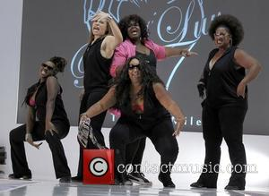 Evolution dancing on the runway of the plus-size denim line Big Luv Denim Fashion Show in the Islander Ballroom at...
