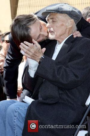 Viggo Mortensen gives Dennis Hopper a kiss Dennis Hopper is honored with the 2,403rd Star on the Hollywood Walk of...