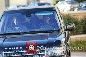 Denzel Washington  and his children are seen leaving the parking garage in their Range Rover after doing some last...