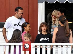 Folk rock musician, Ben Harper and his actress wife, Laura Dern and their children enjoy a family day out in...