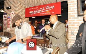 DJ Jazzy Jeff and Mayor Nutter DJ Jazzy Jeff attends Mitchell & Ness Nostalgia Co's grand opening of its new...