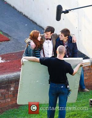 Matt Smith, Karen Gillan  'Dr Who' actors on set filming on location in the south west of the country....