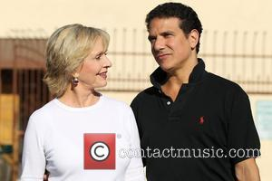 Florence Henderson and her dance partner Corky Ballas leaving a dance studio after rehearsing for the TV show Dancing with...