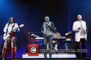 Vernine White, Maurice White and Philip Bailey of Earth,Wind and Fire perform at the Seminole Hard Rock Hotel and Casino...