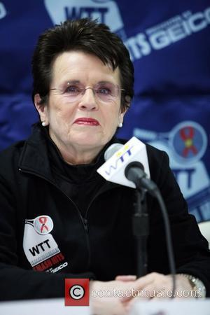 Billie Jean King attends a press conference for a tennis event benefiting the Elton John AIDS Foundation and the Washington...