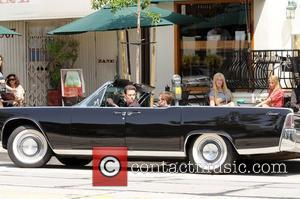 Kevin Dillon and Kevin Connolly Cast members on the set of 'Entourage' filming on location at Urth Caffe in West...