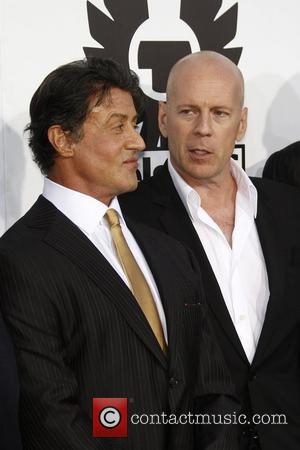Bruce Willis and Sylvester Stallone Los Angeles Premiere of 'The Expendables' held at Grauman's Chinese Theatre  Los Angeles, California...