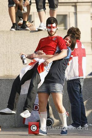 England Fans In Trafalgar Square During The Second Day Of The Fifa World Cup 2010