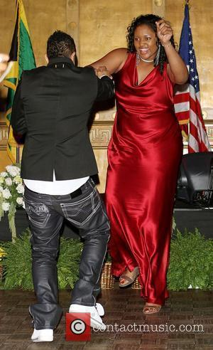 Shaggy and Jamaican Marvadene Anderson, the world's tallest teen basketball player The American Friends of Jamaica 29th Annual Hummingbird Gala...