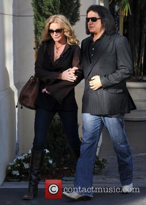 Shannon Tweed and Gene Simmons  arrive for the Extra TV show interview at The Grove Los Angeles, Calfornia, USA...