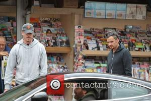 Eric Dane dressed in casual sports wear and Balthazar Getty, outside the Kings Road Cafe in West Hollywood Los Angeles,...