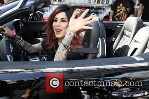 Kat Von D drives off in her Bentley Continental convertible after the 2nd Annual Golden Gods Awards Nominees and Press...