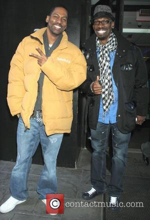 Tony Rock and Charlie Murphy are seen leaving 'Good Day New York' Studios to promote their new comedy show at...