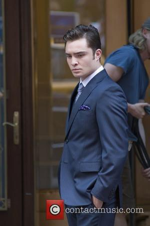 Ed Westwick on the set of 'Gossip Girl', filming on location in Manhattan New York City, USA - 03.09.10