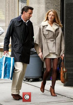 Billy Baldwin and Blake Lively on the set of 'Gossip Girl' shooting on location in Midtown, Manhattan. New York City,...