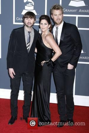 Dave Haywood, HIllary Scott and Charles Kelley of the group 'Lady Antebellum' 52nd Annual Grammy Awards held at the Staples...