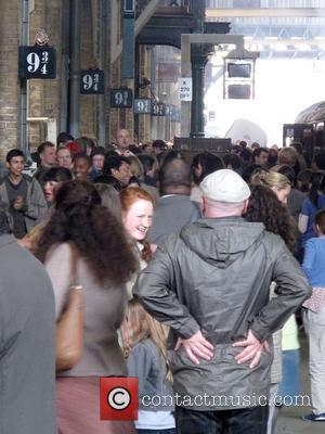 The new Harry Potter film being filmed at Kings Cross Station London, England - 26.05.10