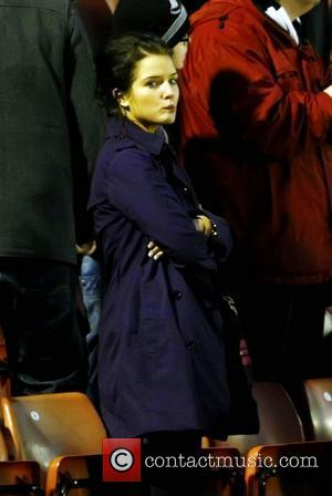 Helen Flanagan  watches her boyfriend Scott Sinclair play in a match against Barnsley V Swansea at Oakwell Stadium Barnsley,...